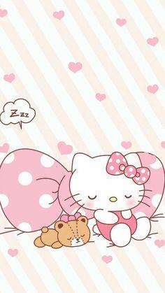 Hello kitty and teddy are sleepy on the big bow Sanrio Hello Kitty, Hello Kitty Art, Hello Kitty Coloring, Hello Kitty My Melody, Hello Kitty Pictures, Hello Kitty Birthday, Hello Kitty Iphone Wallpaper, Hello Kitty Backgrounds, Sanrio Wallpaper