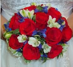 Red White And Blue Bouquet Wedding Flowers Colors