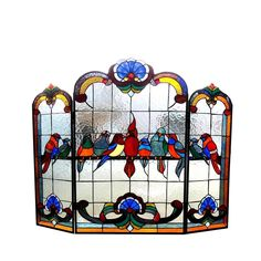 Chloe Lighting Fireplace Screen Tiffany Gathering Birds Design CH1F982RA40-GFS #ChloeLighting #StainedGlass