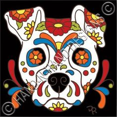 Day of the Dead Dog Sugar Skull decorative art tile is hand painted and hard fired at over 1800 degrees making it ready for use indoors or outdoors Sugar Skull Painting, Sugar Skull Art, Sugar Skulls, Sugar Skull Images, Sugar Skull Crafts, Tattoo Pied, Dead Dog, Day Of The Dead Art, Candy Skulls