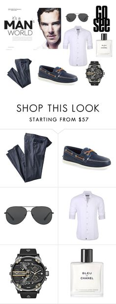 """Man Stuff"" by denanoorshelyna on Polyvore featuring Sperry, Michael Kors, Stone Rose, Diesel, Chanel, men's fashion, menswear and contest"