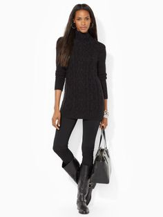 Cable-Knit Funnelneck Sweater - Lauren Turtlenecks - RalphLauren.com