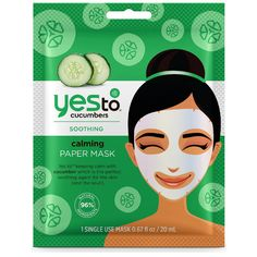 yes to Cucumbers Calming Paper Mask ($4.36) ❤ liked on Polyvore featuring beauty products, skincare, face care, face masks, hydrating facial mask, yes to cucumbers face mask, blossom perfume, facial mask and green tea mask