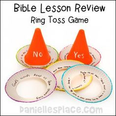 Cone Ring Toss Bible Lesson Review Yes/No Bible Review Game #ChildrensChurch #SundaySchool