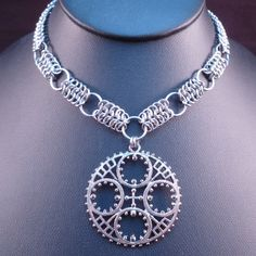 Gear - Handmade Steampunk Chain Maille necklace made by Blackbird Maille on Etsy.