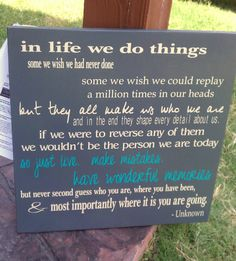 In life we do things, just live make mistakes, distressed subway style sign, great graduation gift on Etsy, $39.00