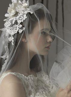 Beautiful lace veil headpiece
