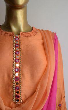 Peach Mirror-work Kurta Set with Shaded Dupatta Salwar Neck Designs, Neck Designs For Suits, Kurta Neck Design, Neckline Designs, Sleeves Designs For Dresses, Dress Neck Designs, Kurta Designs Women, Blouse Designs, Sleeve Designs