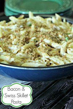 Bacon and Swiss Skillet Pasta by Penney Lane Kitchen Quick dinner. One pot meal.