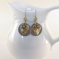 Earrings Hammered Silver and Gold Leaf by CinLynnBoutique on Etsy