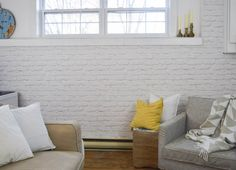 DIY Faux Brick Wall - brick wallpaper used to add some industrial texture to a room.