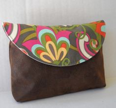 Clutch / Pouch / Cosmetic Bag / in Faux Leather by jazzygeminis, $15.00