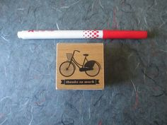 Thanks so much bicycle stamp wood block rubber by TheSupplyDestash