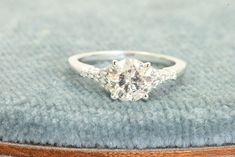 18K 1.32 CT Old Mine Cut Diamond Fancy Engagement Ring