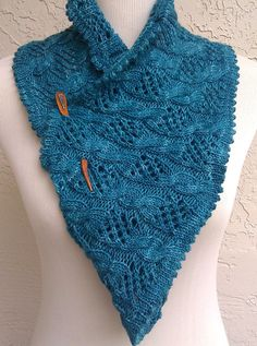 Free Knitting Pattern for My Dolphin Cowl - Cable and lace infinity scarf with decorative picot edge. Designed by kniTTina. Pictured project by MyDailyFiber. Available in English and German