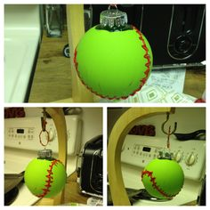 Homemade softball ornament. Clear plastic ornament, green acrylic paint and red puff paint. Apply green paint, let dry over night. Then apply red puff paint the next day and let dry over night again and then you have a homemade personalized ornament, since no one sells softball ornaments that I could find. Enjoy! :)