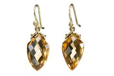 Faceted Citrine Arrowhead Teardrop Earrings