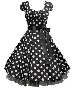 Amazon.com: H&R London Black & White Big Polka Dot 50's Swing Dress (1): Clothing