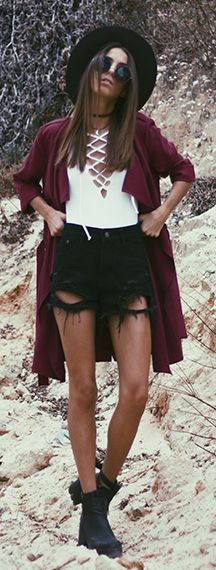 White Lace Up Top Fall Inspo by Mexiquer