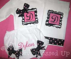 Monogrammed Bodysuit, Burp Cloth, and Bloomers - Hot Pink and Black Initial Baby Girl Gift Set - Personalized Embroidered
