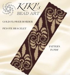 Pattern, peyote bracelet - Gold flower border peyote bracelet pattern in PDF - instant download