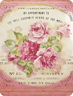 Enchantingly pretty! #vintage #flowers #roses #pink #illustrations #shabby #chic