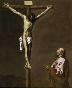 San Lucas como pintor, ante Cristo en la cruz  Francisco de Zurbaran 1630
