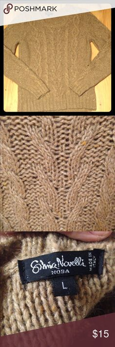 Italian made beige cable knit sweater A true size large- I wore a size 12 when I purchased it. It was $80 from a boutique in Texas. It has gorgeous gold flecks in the yarn that, when worn, really do add to the beauty. Made in Italy, it is 36% wool with the rest nylon, acrylic, and spandex. Perfect for these chilly months ahead! All reasonable offers are accepted ❤️❤️❤️I offer a generous discount to bundles❤️❤️❤️ Thanks for looking! Sweaters Crew & Scoop Necks