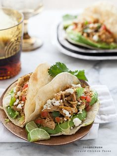 Stewed Chicken Tacos are made with frozen chicken meat. No thawing, no browning. My favorite #taco around.