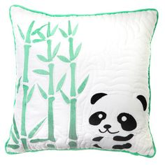 PETEE PANDA CUSHION  $39.95  This reversible cushion can be used in any baby boy or girl's nursery or bedroom. It could easily be used as a nursing pillow and perfect to dress up your baby's cot or child's bed. Simply flip between Mr Panda and his bamboo tree to green polka dot to change the look of your décor.  Dimensions: 40cm x 40cm  Material: 100 % Cotton Cover with 100% polyester fill, with embroidery accents