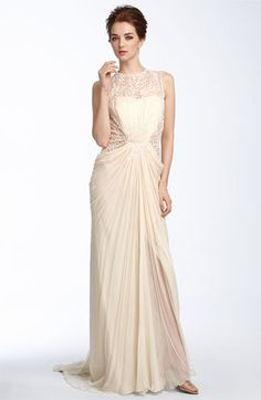 $548. Awesomeness. Free shipping and returns. Runs small.  Tadashi Shoji Lace & Chiffon Gown | Nordstrom