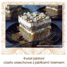 Ciasto kwiat jabłoni to lekki orzechowy biszkopt przełożony duszonymi jabłkami i kremem z białej czekolady. Delikatność kremu na bazie kr...