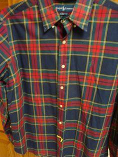 RALPH LAUREN POLO Mens Shirt LARGE L Classic Fit Plaid Check Red Navy Long Slv #RalphLaurenPolo #ButtonFront