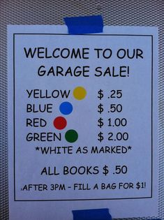 This is a great idea to keep things simple. Rummage Sale, School Fundraising Ideas, Cheer Fundraiser Ideas, Church Fundraisers, Fundraising Events, Nonprofit Fundraising, Yard Sales, Yard Sale Prices, Pricing For Garage Sale
