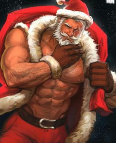 D&Daddies; Shirtless men of fantasy; Santa Claus Drawing, Santa Cartoon, Gay Christmas, Xmas, Naughty Santa, Art Of Man, Bear Art, Hot Anime Guys, Shirtless Men