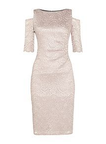 View product Eliza J Lace cold shoulder dress