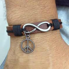pulseira masculina couro símbolo do infinito paz bracelet man men's fashion