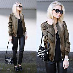 Get this look: http://lb.nu/look/8133654  More looks by Caro Daur: http://lb.nu/carodaur  Items in this look:  Asos Jacket, Escada Sunnies, Mcm Bag, Edited Pants   #casual #minimal #street