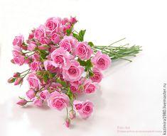 Polimer clay handmade roses. Купить Кустовые розовые розочки из полимерной глины. Керамическая флористика. - розовый, розы
