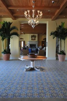 """The San Tropez cement tile pattern stretches the entire length of the room and uses 8""""x8"""" hand-crafted #cement #tiles."""