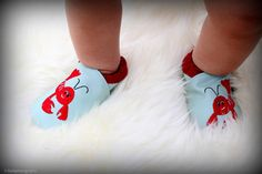 Lobster Shoes made of soft leather $27 at www.mybabypeanut.com