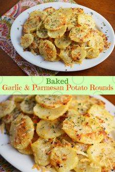 Baked to golden-brown perfection and topped with garlic, herbs, and melty Parmesan, these Baked Garlic and Parmesan Potato Rounds are an easy side dish!