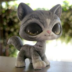 (sold) Grey Striped Cat - OOAK LPS Custom by theleyline - Hand Painted Littlest Pet Shop Kitty