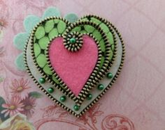 Heart Felt Zipper Brooch