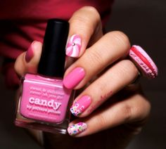 piCture pOlish 'Candy' mani art with macroon ring so cute by The Quiche Girl!