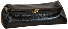 Budd Leather Framed Lizard Calf Cosmetic Case, Black Onyx >>> Review more details here : Travel cosmetic bag