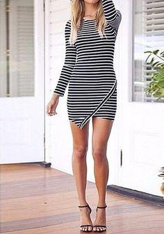 Striped Asymmetric Bodycon Dress