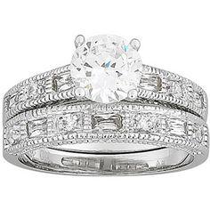 2.7 Carat T.G.W. Round CZ Rhodium-Plated Wedding Ring Set