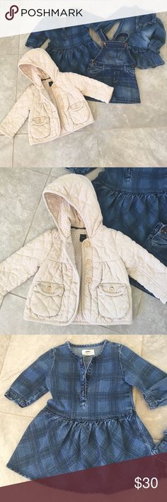 Baby gap Jean dresses, quilt jacket, Jean skirt Adorable 12-18 gap Jean dress w/ ruffles, 12-18 H&M Jean overall skirt, 18-24 baby gap quilted jacket, and old navy plaid Jean dress 2T - all in great condition baby gap Dresses Casual