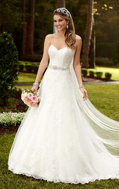 Strapless A Line Satin Wedding Dresses Sweet Hear Neck Hand Placed Lace With Belt Chapel Train White Bride's Gowns